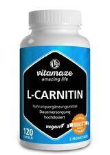 L-Carnitin hochdosiert als 120 Kapseln für Fatburner Fettverbrennung Diät VEGAN