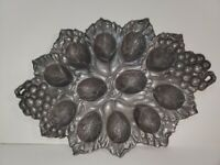 Arthur Court Grape Deviled Egg Holder Tray Plate 2004 Holds 12 Cast Aluminum