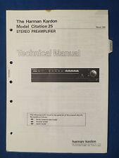 HARMAN KARDON CITATION 25 PREAMP TECHNICAL SERVICE MANUAL ORIGINAL GOOD COND