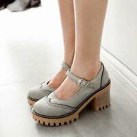 Womens Brogue Sweet Mary Jane Lolita Gothic Chunky High Heels Platform Shoes New