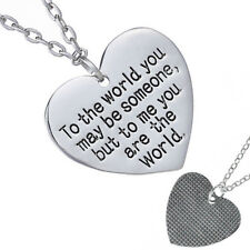 Mother's Day Birthday Gift Mom Wife You are The World Heart Necklace Great Gift