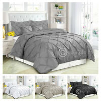 Pintuck Pleated Duvet Cover with Pillowcase Bedding Set Single Double King Size