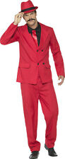 REDUCED Red Zoot Gangster Suit 1920's Mafia Mens Fancy Dress Costume & Hat