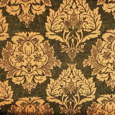"GOLD HUNTER GREEN DAMASK CHENILLE UPHOLSTERY BROCADE FABRIC 58"" BY THE YARD"