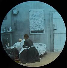 Glass Magic Lantern Slide CHILD IN BED WITH MOTHER C1890 VICTORIAN PHOTO