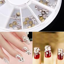 Nail Art 120PCS Rhinestones Glitter Diamond Gems 3D Tips Decoration Tools Wheel