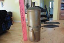 Vntg Copper Wood Handle Coffee Pot Maker Flip Espresso Stovetop Cruet Cappuccino
