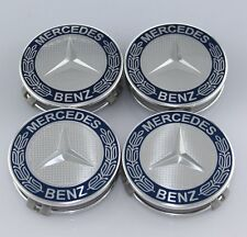 4x75MM for MERCEDES-BENZ BLUE SILVER WHEEL RIM CENTER WHEEL HUB CAP