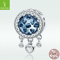 European S925 Sterling Silver Charm Blue CZ Bead With Heart Tassel For Bracelet