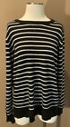 Nordstrom Halogen 100% Cashmere XL Black White Striped Sweater Top Long Sleeves
