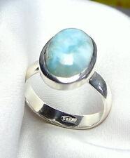 Larimar Ring 925 Silber Gr. 16,8 (53) mit ovalem Edelstein Cabochon UNIKAT - NEU
