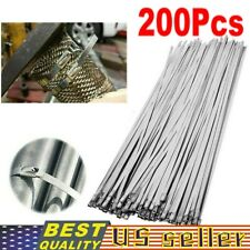 """200Pcs Stainless Steel 12"""" Exhaust Wrap Coated Metal Locking Cable Zip Ties Lot"""