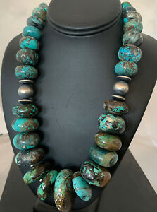 XL Navajo Pearl Graduated Sterling Silver Natural Blue TURQUOISE Necklace732