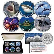 SEA LIFE Shark Whale Dolphin Turtle Octopus JFK Half Dollar 6-Coin Set with Box
