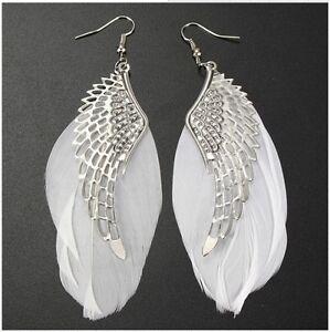 Fashion Angel Wing Feather Dangle Long Earring Ear Hook Women Drop Earrings Gift