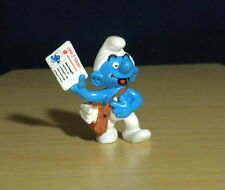 Smurfs Newsman Paper Boy Smurf Newspaper Figure Rare Vintage Toy Figurine 20458