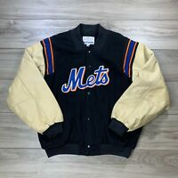 Vtg Majestic New York Mets MLB Leather Wool Varsity Jacket Size XL *Read Desc*