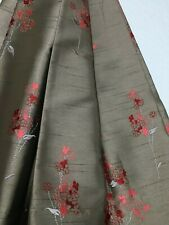 Belfield - Chloe satin, Ruby, floral patterned curtain fabric/material,