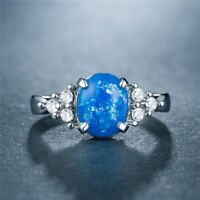 925 Silver blue fire opal ring Women Fashion Fête De Mariage Bijoux Cadeau SZ 6-10