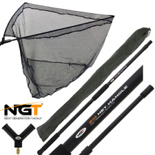 "NGT Rubber Landing Net 42"" Large Carp Pike Fishing + 2M Handle + Stink Bag Combo"
