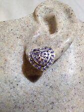 Genuine Blue Tanzanite Heart Deco Stud 925 Sterling Silver Vintage Earrings