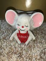 Vtg Ceramic Mouse Heart Planter Vase Love Valentine's Day Candy Holder