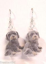 "NEW Rott Rottweiler Dogs Puppies 1"" Mini Figures Fuzzy Flocking Dangle Earrings"