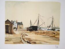Village de pêcheurs bretons : Lithographie originale signée de YAN Robert
