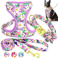Floral Personalised Dog Collar/Harness/Lead Mesh Nylon Chest Vest ID Name Collar