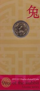 "2011""Lunar Year of ""The Rabbit"" Australia $1 Dollar UNC Coin on Card"