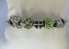 Women's Stainless Steel Charm Bracelet With Crystals and Charms 7 .5 Inches