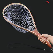 Maxcatch Rubber Landing Net For Fly Fishing Trout With Wooden Handle