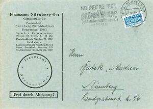 Beleg / Letter Freistempel NÜRNBERG mit Notopfer-Steuermarke (3.8.1950)