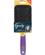 GOODY* Hair Brush NEON GRIP Ball-Tipped BRISTLES Everyday Styling PURPLE CHEVRON