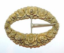 2141~Large Vintage Taupe Celluloid Flower Belt Silvertone Buckle**