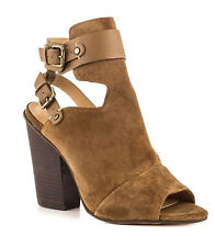 JOES JEANS BELOVE BOOTIE Block HEEL  OPEN TOE  KHAKI SUEDEL LEATHER SHOE  8