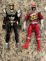 "Lot of 2 Talking Power Rangers 12"" DINO CHARGER Action Figures SCG RED &  BLACK"