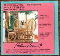 1987 Palma Brava Home Furnishings Toronto Print Ad Rattan Table and Chair Set