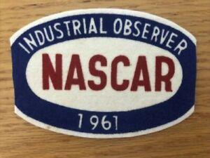 1961 NASCAR Vintage Felt Patch Industrial Observer RARE Authentic Nascar history
