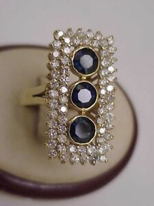 G.I.A. Certified!  $7124 Estate 5.75ct Sapphire Diamond 14k Yellow Gold Ring