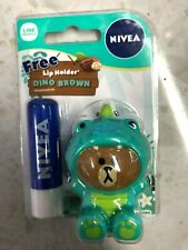 NEW NIVEA Balm Care x Line Friends Free Lip Holder Dino Snow Piggy Raffy Brown