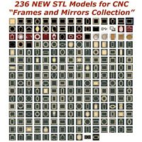 236 NEW Frames and Mirrors 3d STL Models for CNC Router 3d-Printer Artcam Aspire