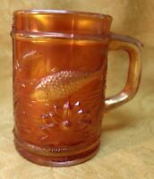EAPG Beautiful Dugan Fish Fisherman's Mug Marigold Carnival Glass  4""