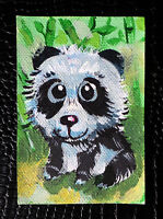 "Original art by Bastet ""Panda"" OOAK hand painted ACEO"