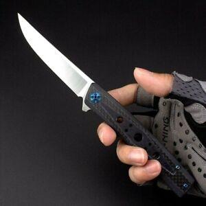 Straightback Folding Knife Pocket Hunting Survival D2 Blade Carbon Fiber Handle
