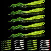 5pcs Curly Tail 12cm Soft Plastic Grub Striper Flounder Bait Bass Saltwater Lure