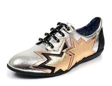 Irregular Choice NEW Star Light silver black gold lace up flat fashion shoes 3-8