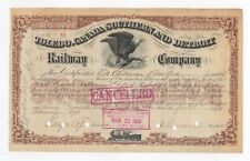 1873 J. S. Casement - Toledo, Canada Southern and Detroit Rr Co. Stock