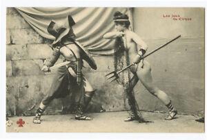 c 1910 French Risque Nude ROMAN LADY Gladiators Arena Battle photo postcard 4