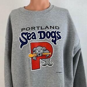 Portland Sea Dogs Crewneck Sweatshirt MILB Boston Red Sox Baseball Grey Size L
